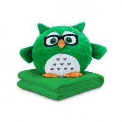 DORMEO NALADOVA SOVA 3v1 - vankúš a deka plyšová hračka zelená, sebavedomá